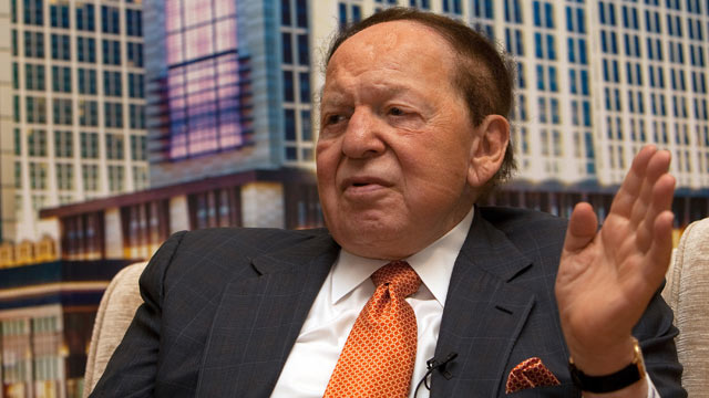 PHOTO: Sheldon Adelson, chairman and chief executive officer of Las Vegas Sands Corp. and chairman of Sands China Ltd., speaks during a news conference in Macau, China, on Sept. 20, 2012.