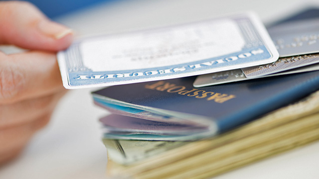PHOTO: Social security card, passport and money