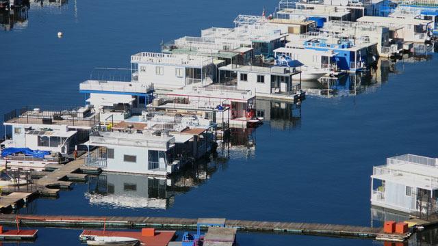 PHOTO: An aerial view of house boats near Visalia, California.