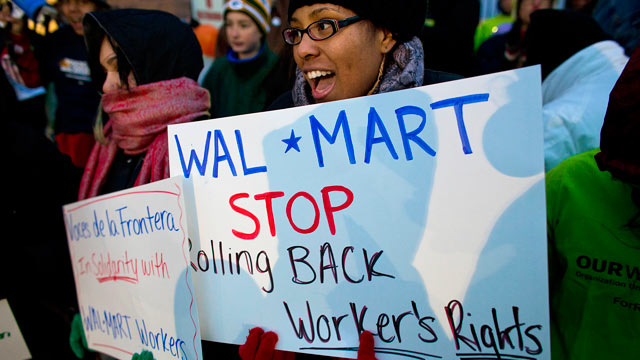 PHOTO: Workers and supporters march outside a local Wal-Mart retail store on Black Friday, Nov. 23, 2012 in Milwaukee, Wisc.