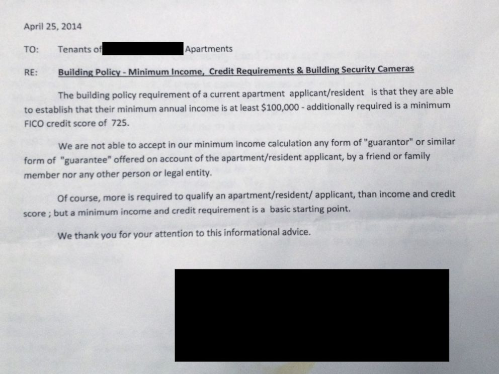 PHOTO: Tenants in one building in San Francisco were given letters stating that they need to establish a minimum yearly income of $100,000.