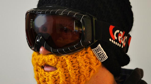 PHOTO: The tightly-knit cap and attached face-warmer is perfect for snowball fights.
