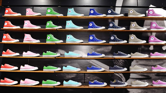 PHOTO: Chuck Taylor shoe collection on display at the Converse Santa Monica store, which opened, Feb. 11, 2012.