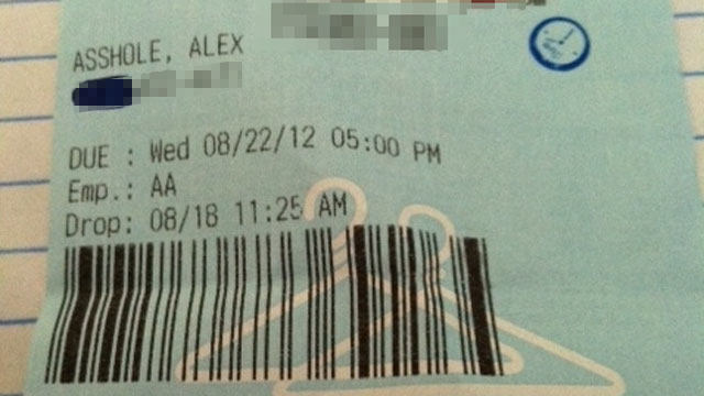 PHOTO: Alex Delsordo received this ticket at his dry-cleaner.
