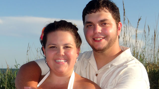 PHOTO: Erica Rush of Bristol, Tenn. and Clay Jackson of Lynchburg, Va. moved their wedding date earlier by two days to avoid Hurricane Irene and have their dream wedding in Myrtle Beach, S.C.