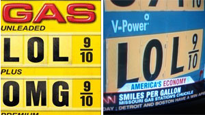 PHOTO Gas price signs poke fun at the recent rise in prices as seen in these flickr.com images.