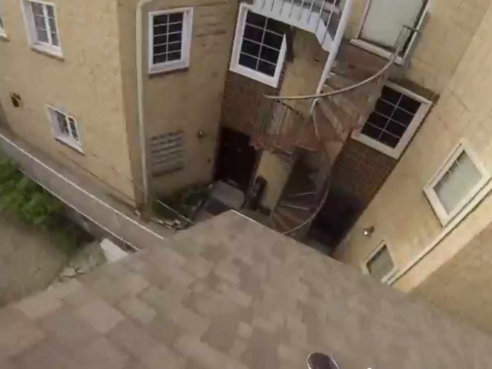 PHOTO: GoPro published a video called, GoPro: Epic Roof Jump, showing a stuntman making a rooftop jump while wearing one of their products to their YouTube channel on July 30, 2014.