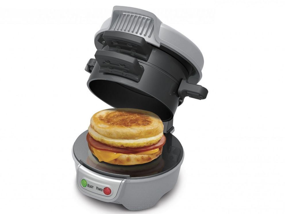 PHOTO: The Hamilton Beach breakfast sandwich maker cooks and assembles your sandwich in just a few easy steps.