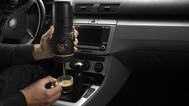 PHOTO: Handpresso makes a new espresso machine for use in the car while driving.