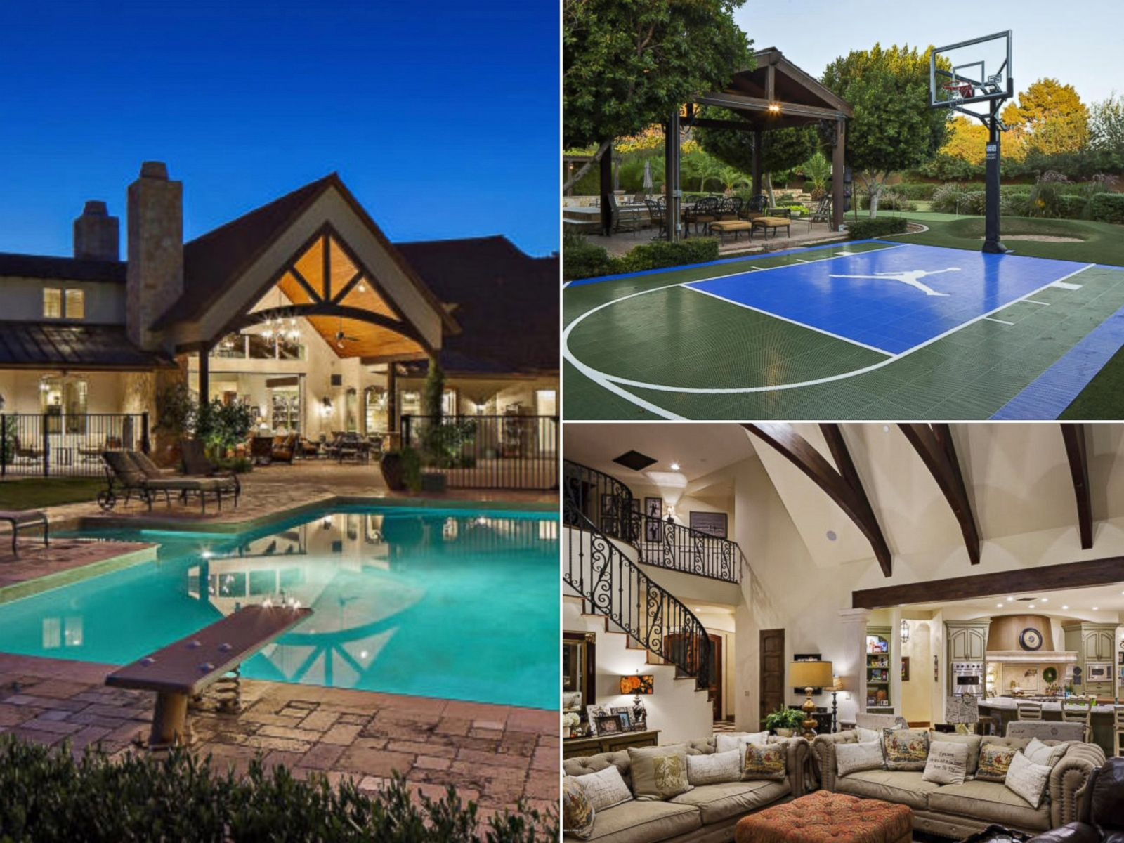 March madness homes with basketball courts for sale for Basketball court for home