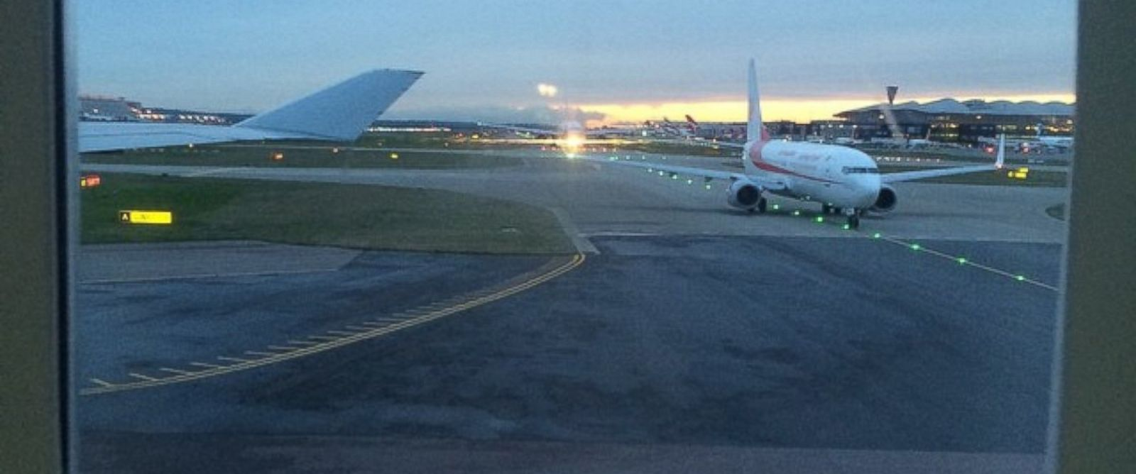 """PHOTO: An Instgram user posted this photo on Dec. 12, 2014 with the caption, """"All planes queued up on the runway at #heathrow #NATS #failure #airtrafficcontrol #breakingnews #gutted."""""""