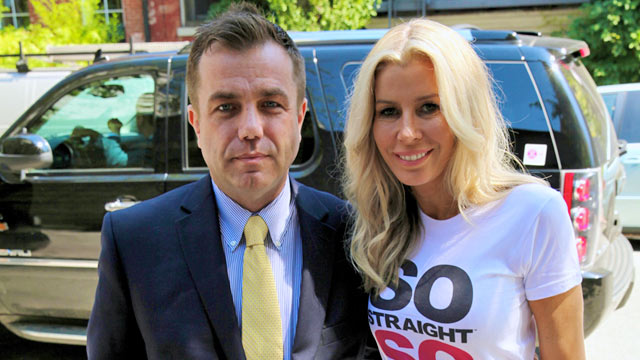 PHOTO: Jeffrey Villacampa, shown with supporter Aviva Drescher of the Real Housewives of New York, held a press conference on June 19, explaining his lawsuit against his former employer for alleged discrimination.