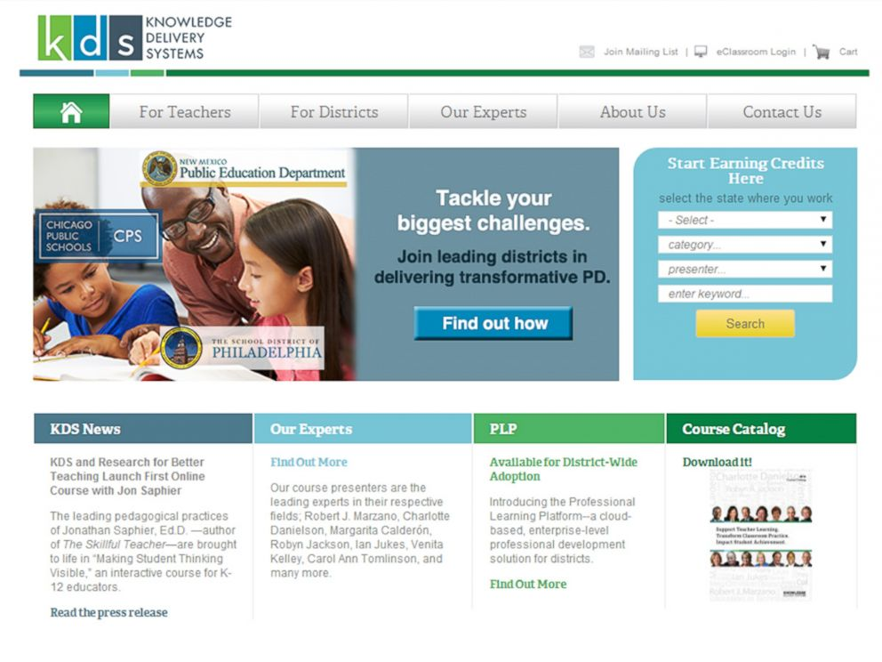 PHOTO: The homepage for Knowledge Delivery Systems, Inc. is pictured.