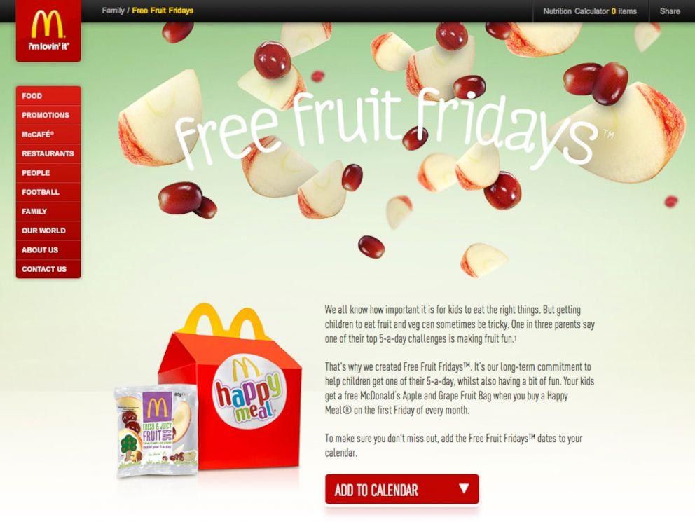 PHOTO: The Free Fruit Fridays portion of the McDonalds UK website.