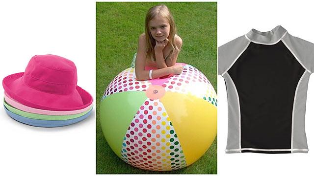 PHOTO:Left, Wallaroo Hats Casual Traveler center, D&L Toys Spotted Beach Ball right, grUVywear T-Shirt.