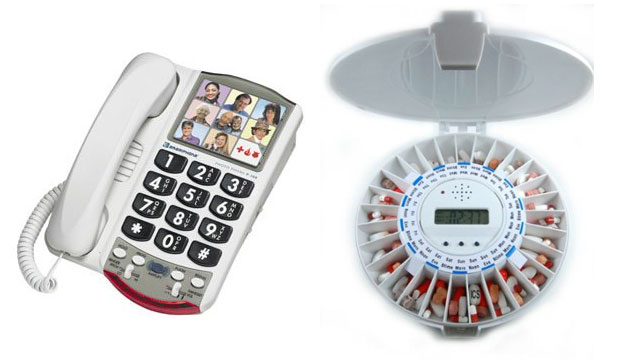 PHOTO: The Clarity Amplified Photo Phone has dial by photo capabilities. Med-e-lert Automatic Pill Dispenser 28 Day Single Dose ensures that medication is taken on time.