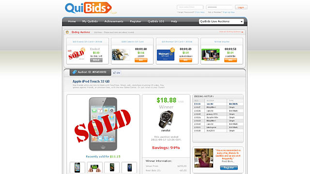 PHOTO: QuiBids is a website where you buy brand new products for less than their original price.