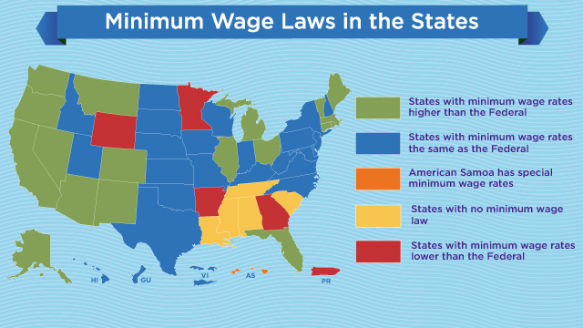 States with highest lowest minimum wages abc news Cost of living in different states in usa