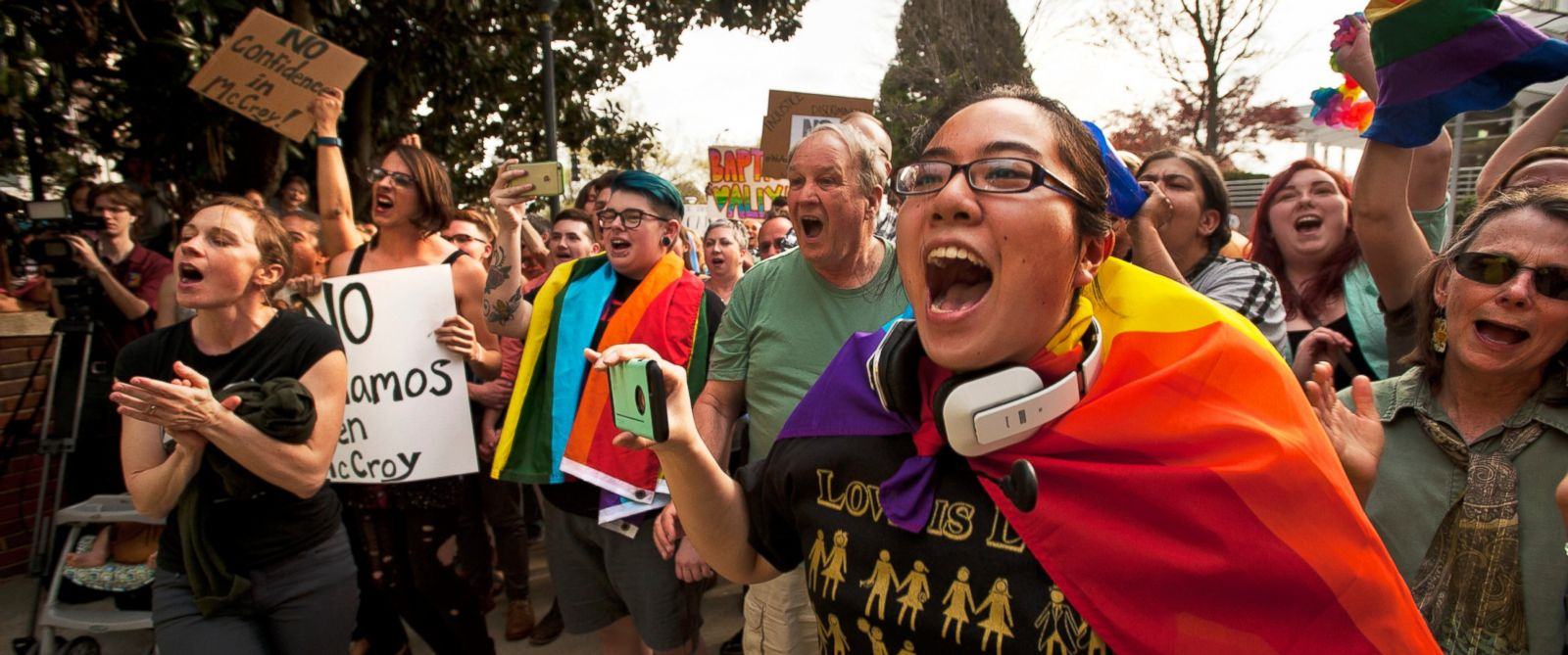 PHOTO: Wake Forest student Melody Wang chants along with scores of others at a Trans Solidarity Rally in front of the Winston-Salem, N.C. City Hall, March 25, 2016.