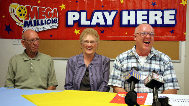 PHOTO: Bakersfield residents from left Bob Urquhart and his wife Etta May and Ronnie Orender recall how they found out they had the winning 1 million Mega Millions lottery ticket at a press conference in Fresno, Calif., May 2, 2011.