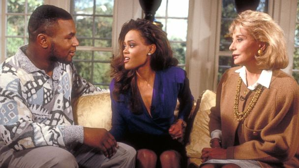 "PHOTO: Barbara Walters interviewed heavyweight boxer Mike Tyson and his wife, actress Robin Givens, on ""The Barbara Walters Special,"" which aired on the ABC Television Network."
