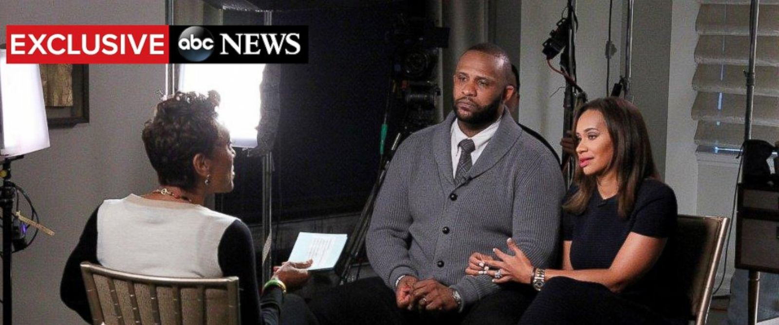 """PHOTO: Robin Roberts exclusive interview with NY Yankees pitcher CC Sabathia and his wife Amber airs on """"Good Morning America,"""" Nov. 6, 2105."""