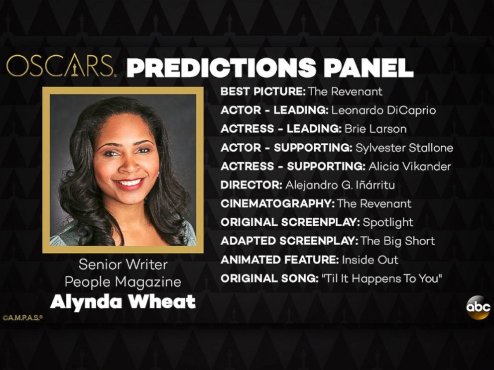 PHOTO: Alynda Wheat and her Oscar Predictions for 2016.