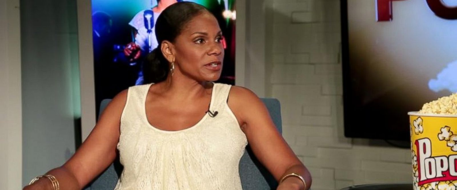 "PHOTO: Audra McDonald speaks to Peter Travers on an episode of ""Popcorn With Peter Travers."""