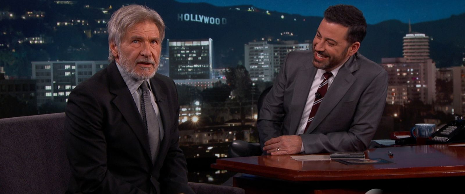 "PHOTO:Harrison Ford appears on ""Jimmy Kimmel Live,"" March 21, 2016."