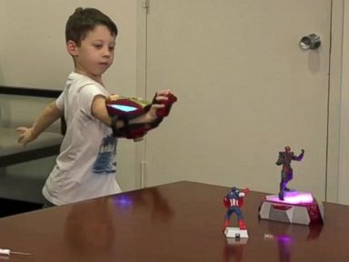 PHOTO: Jude Silver tries out the brand new Playmation for Marvels Avengers.
