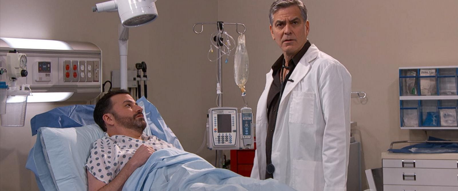 """PHOTO:George Clooney appears in a skit on """"Jimmy Kimmel Live"""" wearing his scrubs from his former TV series, """"ER."""""""