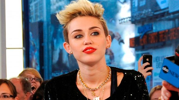 PHOTO: Miley Cyrus talks with Good Morning America, in New York City, June 26, 2013.