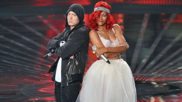 PHOTO: Eminem and Rihanna perform onstage at the 2010 MTV Video Music Awards at the Nokia Theatre, Sept. 12, 2010, in Los Angele.