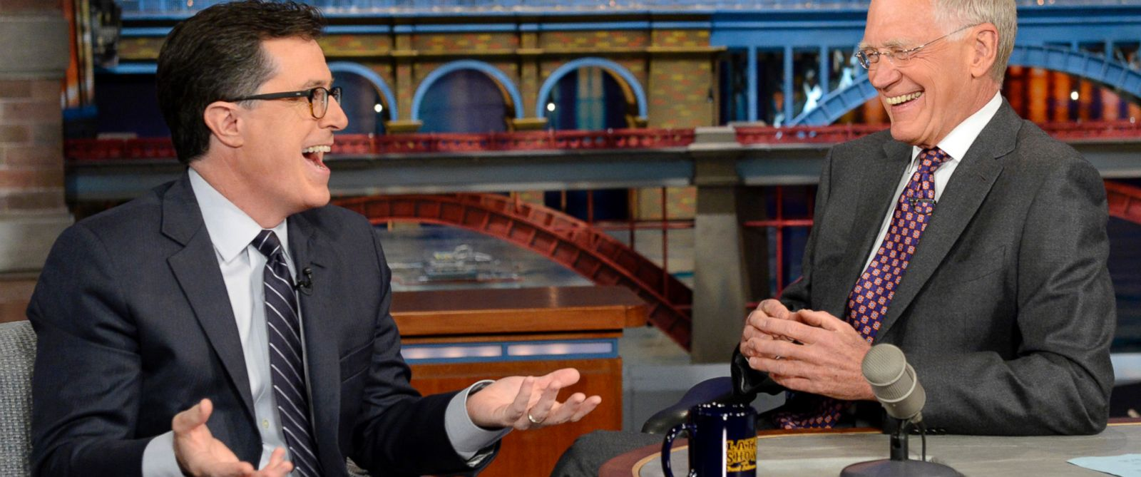 """PHOTO: Stephen Colbert, left, joins host David Letterman on the set of """"Late Show with David Letterman,"""" April 22, 2014, in New York."""