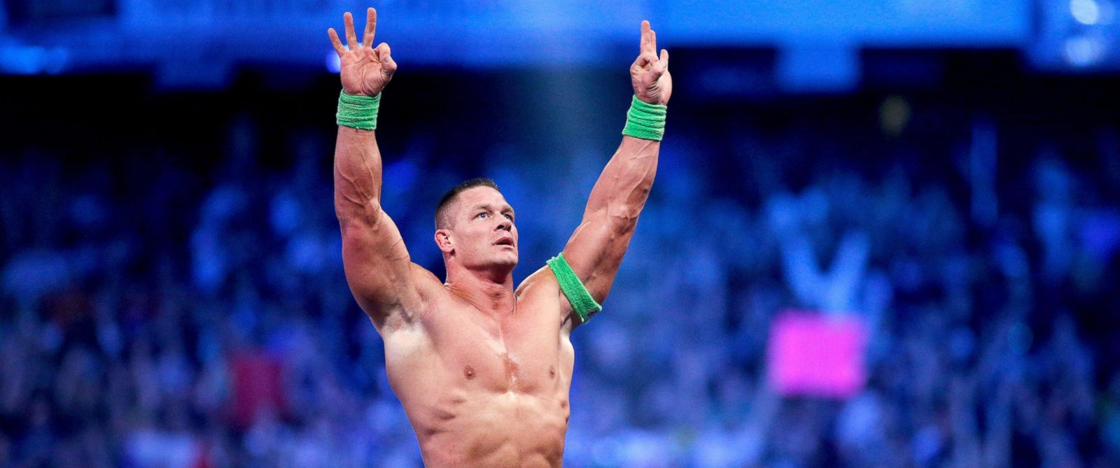 PHOTO: World-famous WWE wrestler John Cena celebrates his win during Wrestlemania XXX at the Mercedes-Benz Super Dome on April 6, 2014 in New Orleans.