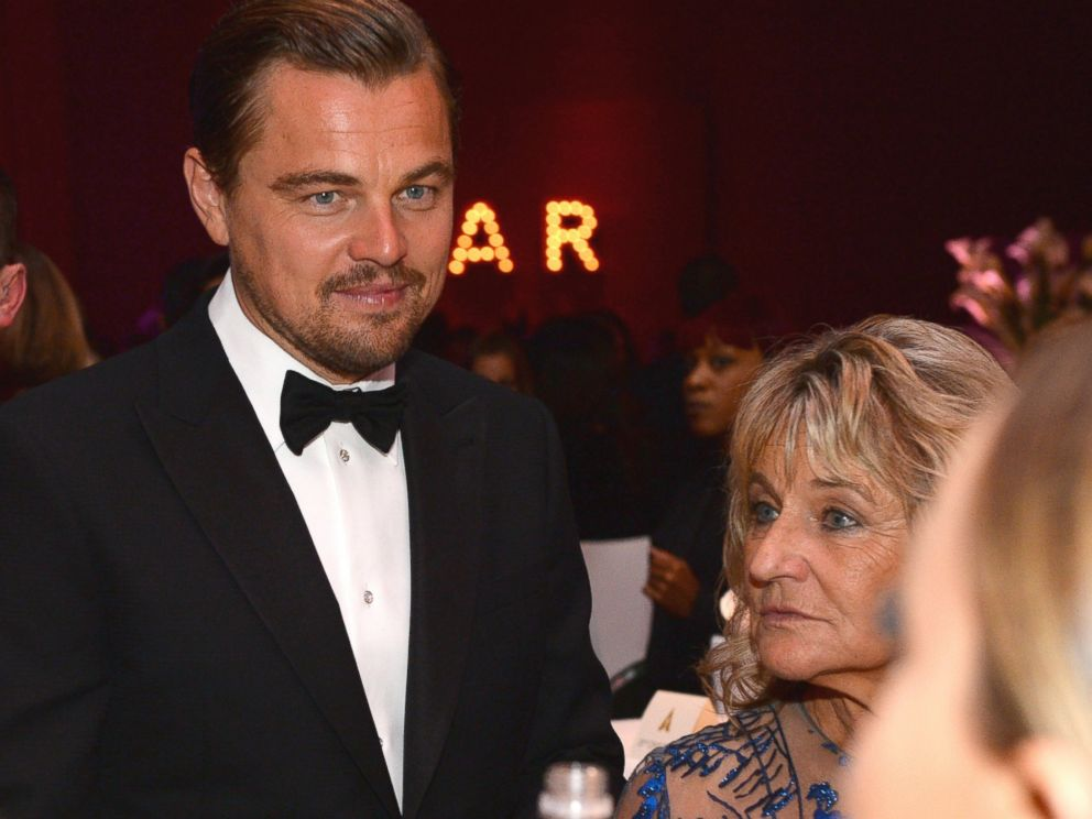 PHOTO: Leonardo DiCaprio, winner of the award for best actor in a leading role for ?The Revenant?, attends the Governors Ball after the Oscars, Feb. 28, 2016, with his mother, Irmelin Indenbirken, right.
