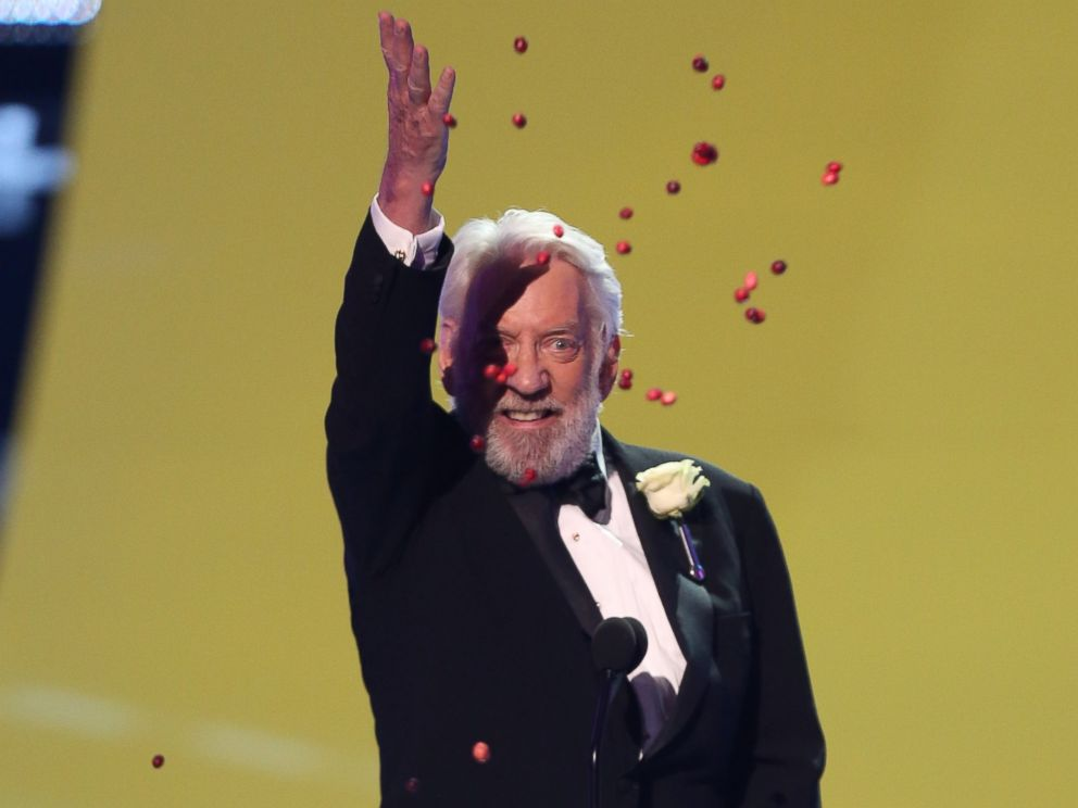 PHOTO: Donald Sutherland accepts the award for choice movie villain for The Hunger Games: Catching Fire at the Teen Choice Awards at the Shrine Auditorium, Aug. 10, 2014, in Los Angeles.