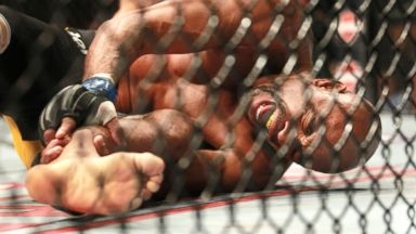 PHOTO: Anderson Silva, of Brazil, screams after kicking Chris Weidman of Baldwin, N.Y., and injuring his leg during the UFC 168 mixed martial arts middleweight championship bout on Saturday, Dec. 28, 2013, in Las Vegas.
