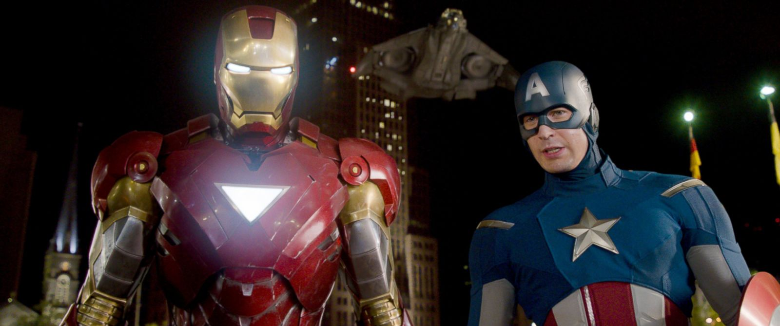 """PHOTO: Iron Man, portrayed by Robert Downey Jr., left, and Captain America, portrayed by Chris Evans, in a scene from """"The Avengers."""""""