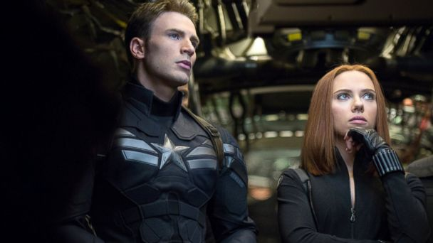 "PHOTO: Chris Evans, left, and Scarlett Johansson in a scene from ""Captain America: The Winter Soldier."""