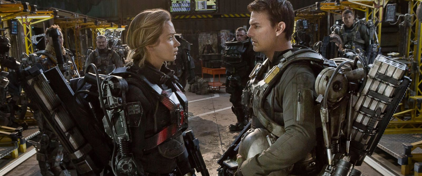"""PHOTO: Emily Blunt, left, as Rita and Tom Cruise as Cage, in Warner Bros. Pictures and Village Roadshow Pictures sci-fi thriller """"Edge of Tomorrow."""""""