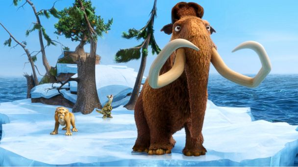 "PHOTO: Characters Diego, voiced by Denis Leary, left, Sid, voiced by John Leguizamo and Manny, voiced by Ray Romano in a scene from the animated film, ""Ice Age: Continental Drift."""