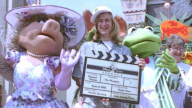 PHOTO: Puppeteer John Henson, the son of the late Muppets creator Jim Henson is seen with Muppets Miss Piggy and Kermit at the Disney/MGM studios in Lake Buena Vista, Fla. on June 15, 1990.