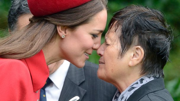 PHOTO: Britains Kate, the Duchess of Cambridge, left, receives a hongi, a traditional Maori welcome, from Maori Elder Hiria Hape, at their official welcome ceremony, in Wellington, New Zealand, April 7, 2014.