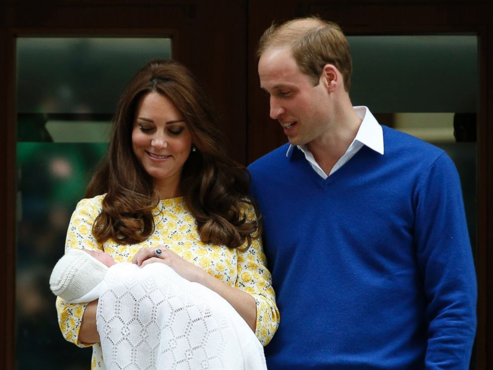 PHOTO: Britains Prince William, right, and Kate, Duchess of Cambridge, with their newborn daughter pose for the media outside St. Marys Hospitals exclusive Lindo Wing, London, Saturday, May 2, 2015.