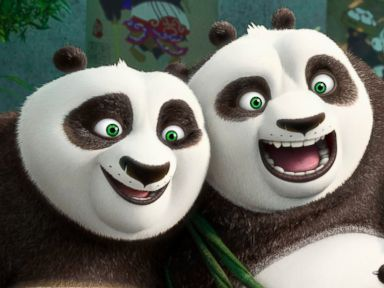 PHOTO: This image released by DreamWorks Animation shows characters Po, voiced by Jack Black, left, and his long-lost panda father Li, voiced by Bryan Cranston, in a scene from Kung Fu Panda 3.