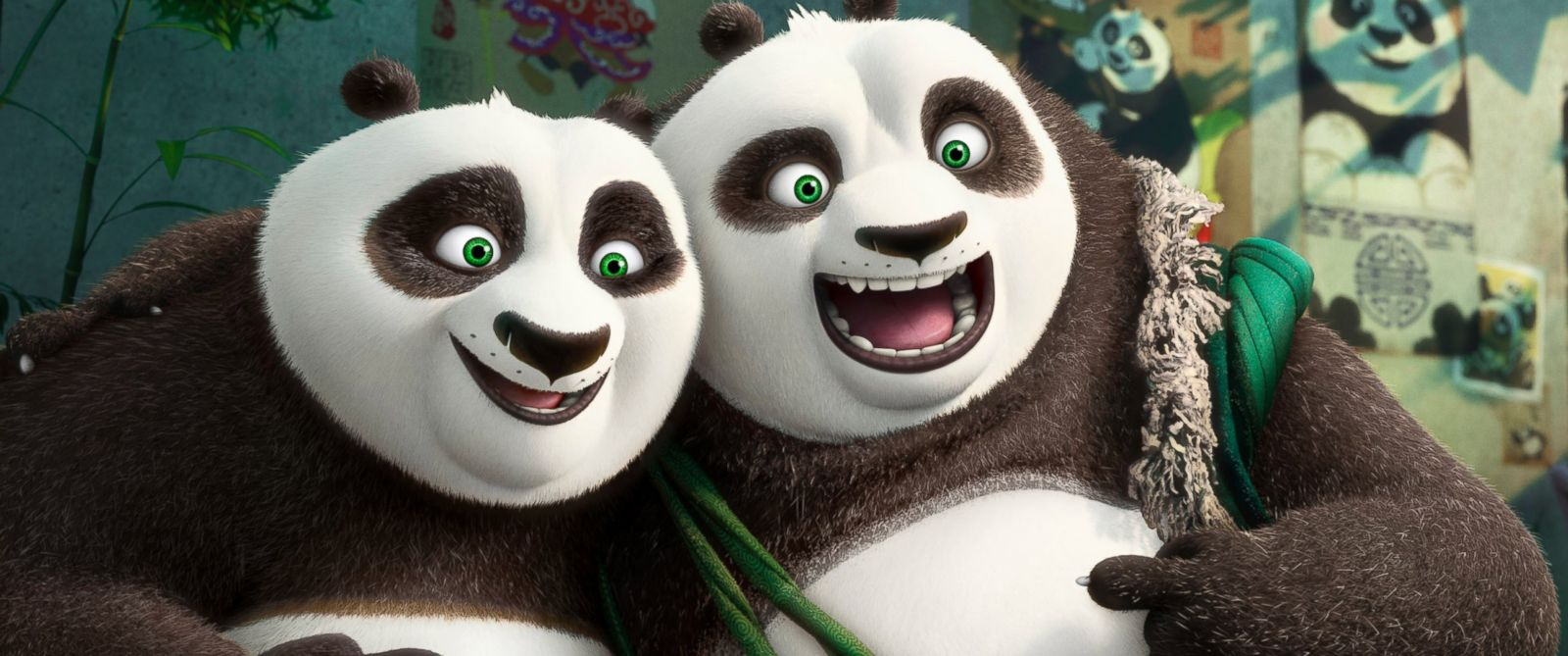 """PHOTO: Characters Po, voiced by Jack Black, left, and his long-lost panda father Li, voiced by Bryan Cranston, in a scene from """"Kung Fu Panda 3."""""""