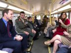 Prince William, Duke of Cambridge, and Kate, Duchess of Cambridge ride with television personality Barbara Windsor on a 1960s Routemaster bus, on route to meeting London Poppy Day staff and volunteers  in London Thursday Nov. 7, 2013.