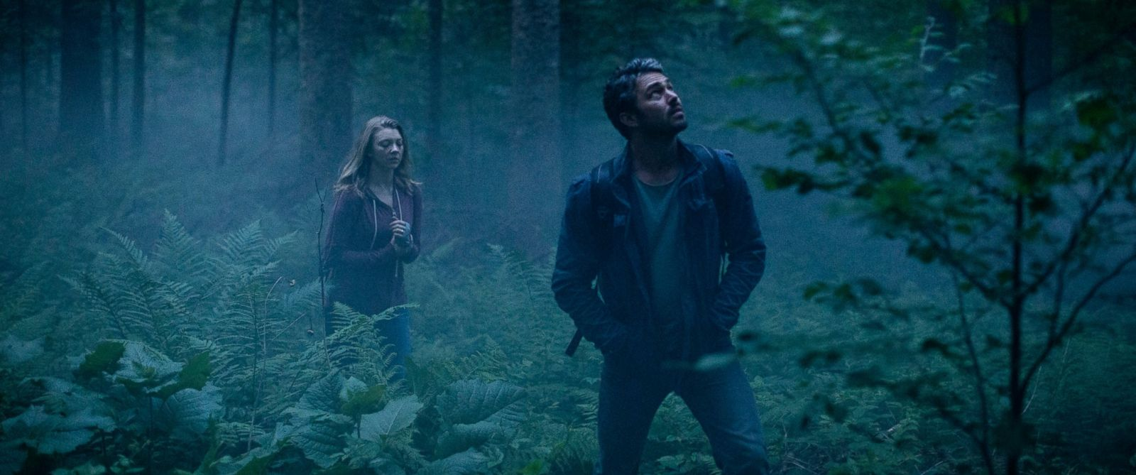 """PHOTO: This photo provided by Gramercy Pictures shows, Natalie Dormer, left, as Sara Price, and Taylor Kinney as Aiden in Jason Zada?s """"The Forest,"""" a Gramercy Pictures release."""