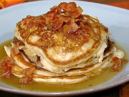 PHOTO: Daphne Ozs bacon pancakes with maple bourbon butter sauce is shown here.